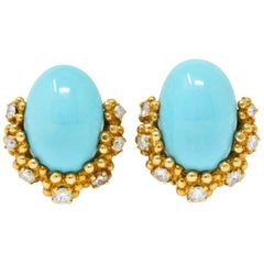 Retro Tiffany & Co. Diamond Turquoise 18 Karat Gold Ear-Clips Earrings