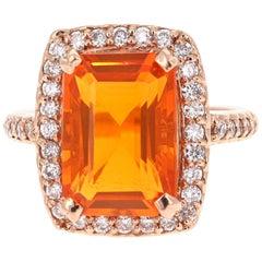 6.22 Carat Fire Opal Diamond Rose Gold Cocktail Ring