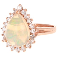 3.18 Carat Pear Cut Opal Diamond 14 Karat Rose Gold Ring