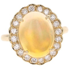 3.61 Carat Oval Cut Opal Diamond Yellow Gold Cocktail Ring