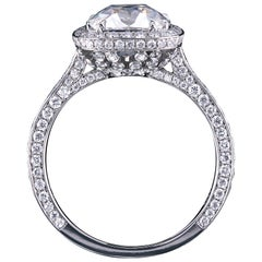 True Antique Cushion Moissanite and Diamond Pave Engagement Ring by Leon Mege