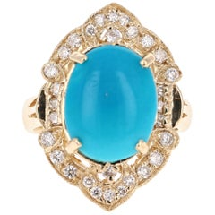 5.33 Carat Oval Cut Turquoise Diamond 14 Karat Yellow Gold Art Deco Ring