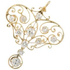 Lacy Victorian 1.85 Carat Old Mine Diamond 14 Karat Gold Pendant