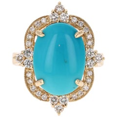 5.63 Carat Oval Cut Turquoise Diamond 14 Karat Yellow Gold  Ring