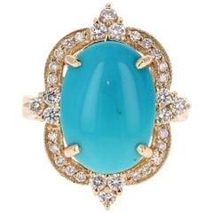 5.63 Carat Oval Cut Turquoise Diamond 14 Karat Yellow Gold  Ring