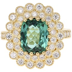 3.99 Carat Green Tourmaline and Diamond Ring 18 Karat Yellow Gold Cocktail Ring
