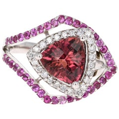 2.74 Carat Pink Sapphire Tourmaline Diamond White Gold Cocktail Ring