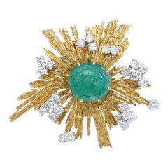 Cartier Emerald Diamond Yellow Gold Brooch, 1960s