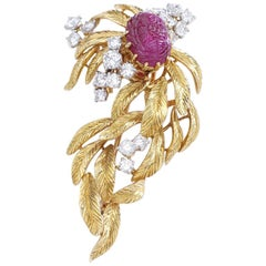 Cartier Paris Ruby Diamond on Yellow Gold Brooch 1960s