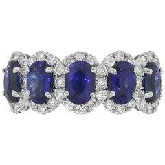 Oval Sapphire with Diamond Halo Band