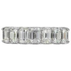 5.32 Carat Emerald Cut Diamond Wedding Band
