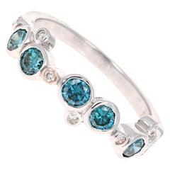 0.90 Carat Blue and White Diamond White Gold Band