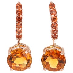 4.24 Carat Orange Garnet and Citrine Drop Earrings 14 Karat Rose Gold