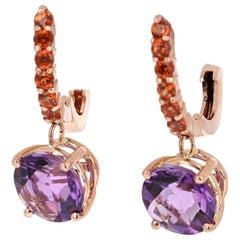 4.28 Carat Amethyst and Garnet Drop Earrings 14 Karat Rose Gold