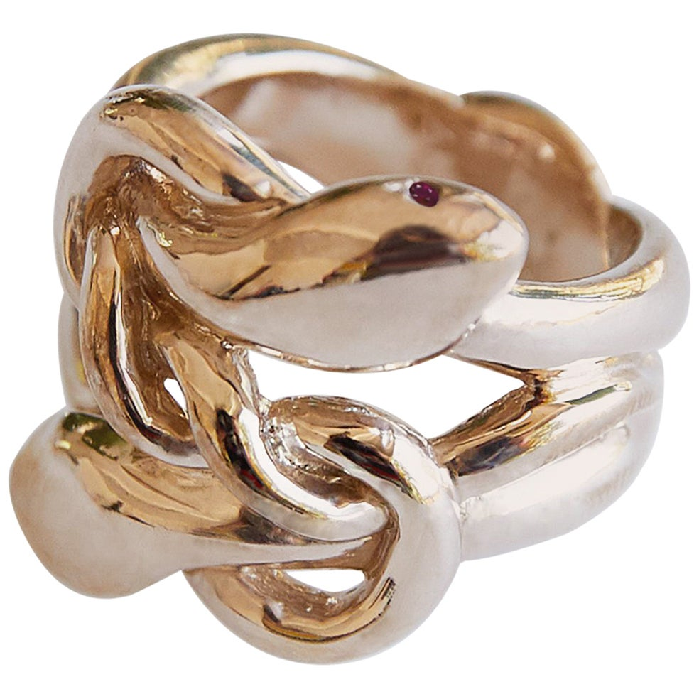 Ruby Gold Snake Ring Victorian Style Cocktail Ring J Dauphin