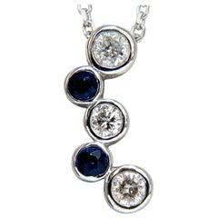 .70 Carat Natural Blue Sapphire Diamonds Drop Necklace 14 Karat