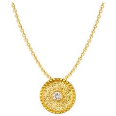 Georgios Collection 18 Karat Yellow Gold Diamond Pendant With Granulation Work