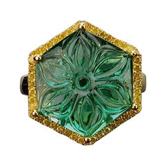 8.36 Carat Carved Emerald and Yellow Diamond Cocktail Ring