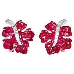 18 Karat White Gold Ruby Maple Leaf Earrings