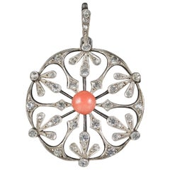 Antique French Art Nouveau Coral Snowflake Pendant Silver, circa 1900
