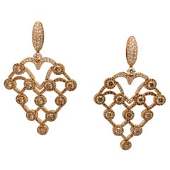 Extravagant Rose Gold Champagne and White Diamond Chandelier Earrings