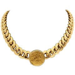 Solid Bulgari 18 Karat Gold Link Necklace with Ancient Roman Coin