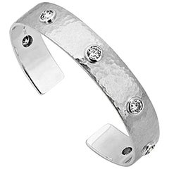 Hammered White Gold Bangle with Diamonds