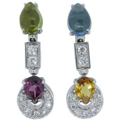 Bulgari 18 Carat White Gold Multi-Gem and Diamond Set Allegra Earrings