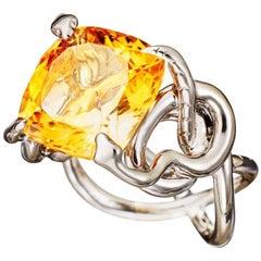 Citrin White Diamonds Palladium Cocktail Ring