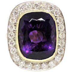 Amethyst and Diamond Cocktail Cluster Ring