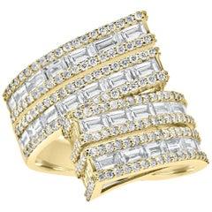 18 Karat Yellow Gold Baguette Diamond Statement Ring
