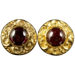 Antique Victorian Garnet Earrings 15 Carat Gold, circa 1900