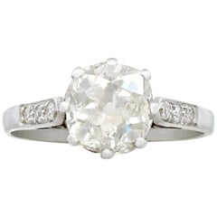 1930s Antique 1.62 Carat Diamond and Platinum Solitaire Ring