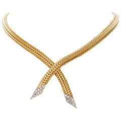 14 Karat Yellow and White Woven Gold Diamond Lariat Choker Necklace