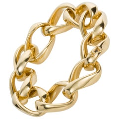 18 Karat Yellow Gold Open Link Chain Bracelet