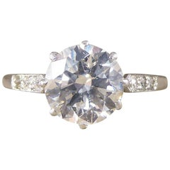 Art Deco 1920s 1.80 Carat Diamond Solitaire Engagement Ring in Platinum
