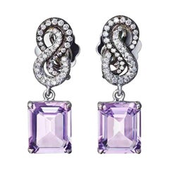 Pink Amethyst White Diamonds Platin Earrings