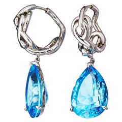 Blue Topaz Palladium Earrings
