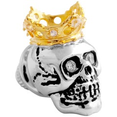 King Skull Pin With Gold Crown