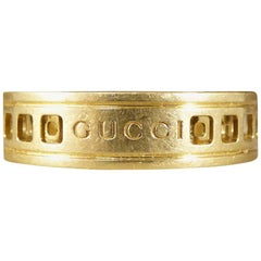 Gucci 18 Carat Yellow Gold Swivel Ring with Geometric Shapes
