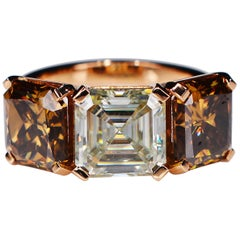 7.66 Carat Asscher Faint Light Yellow Cognac Moissanite 18 Karat Cocktail Ring