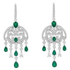 Garrard 18 Karat White Gold Pear Shaped Emerald & Diamond Chandelier Earrings