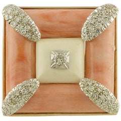 White Diamonds White Stone Pink Coral Rose and White Gold Square Shape Ring