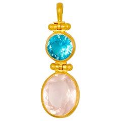 Blue Apatite Rose Quartz 22 Karat Gold Double Swivel Pendant