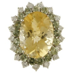 White Diamonds Green Sapphires Yellow Topaz White Gold Cluster Ring