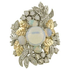 White Diamonds Opals White and Rose Gold Leaves Theme Fashion Ring