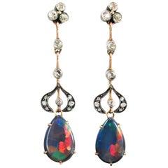 Victorian Black Opal Diamond Gold Ear Pendants