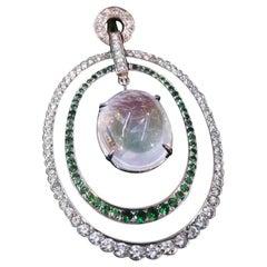 Rainbow Moonstone 8 Carat, Diamond Tsavorite, Pendant