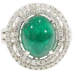 Diamond Emerald Halo Ring Large Cabochon 6.10 Carat 14 Karat White Gold