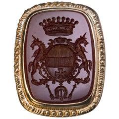Antique 19th Century Carnelian Aristocrat  Signet Ring